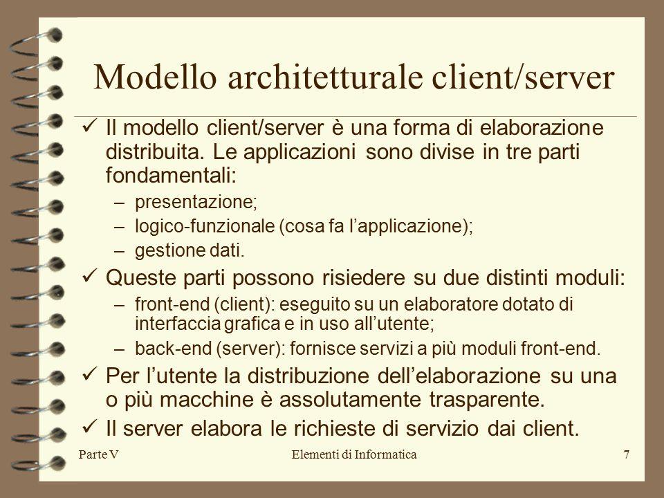 Parte VElementi di Informatica7 Modello architetturale client/server Il modello client/server è una forma di elaborazione distribuita.