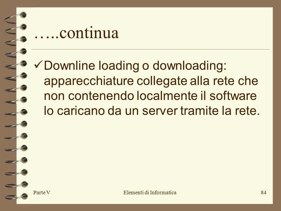 Parte VElementi di Informatica84 …..continua Downline loading o downloading: apparecchiature collegate alla rete che non contenendo localmente il software lo caricano da un server tramite la rete.