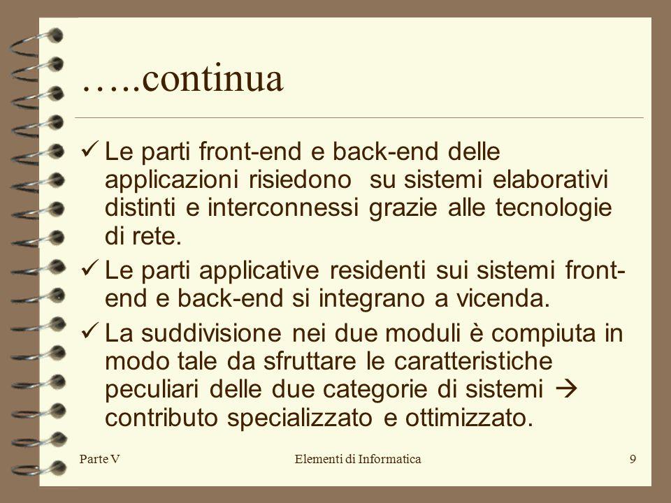 Parte VElementi di Informatica9 …..continua Le parti front-end e back-end delle applicazioni risiedono su sistemi elaborativi distinti e interconnessi grazie alle tecnologie di rete.