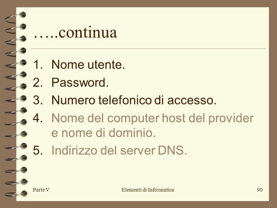 Parte VElementi di Informatica90 …..continua 1.Nome utente.