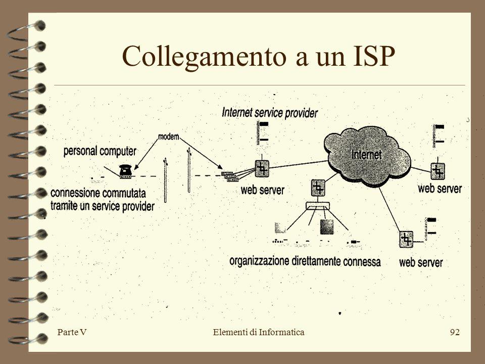 Parte VElementi di Informatica92 Collegamento a un ISP