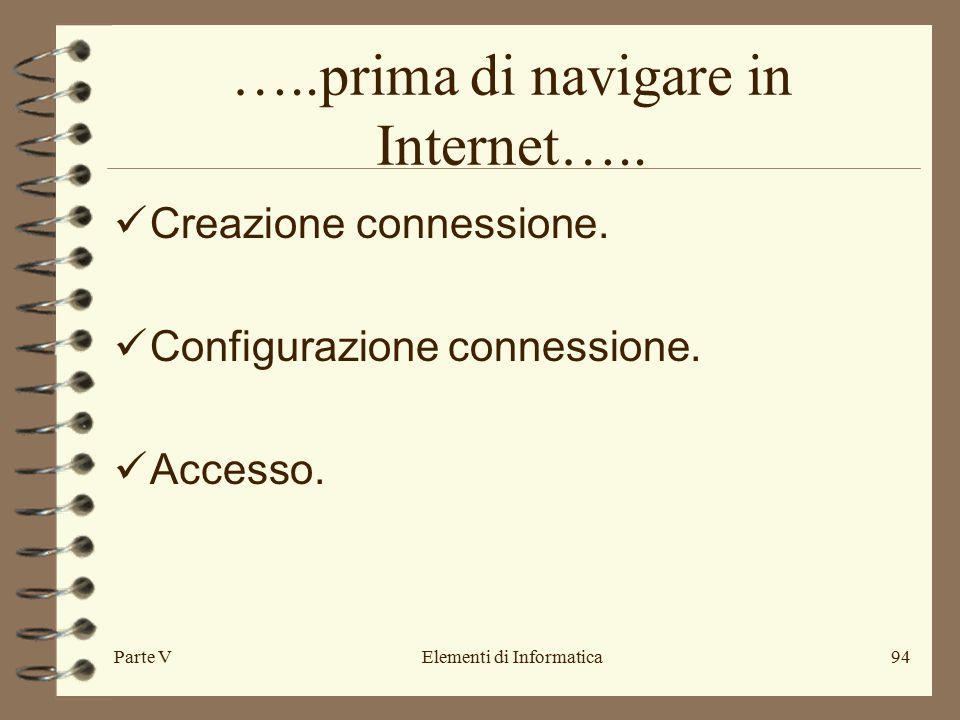 Parte VElementi di Informatica94 …..prima di navigare in Internet….. Creazione connessione. Configurazione connessione. Accesso.