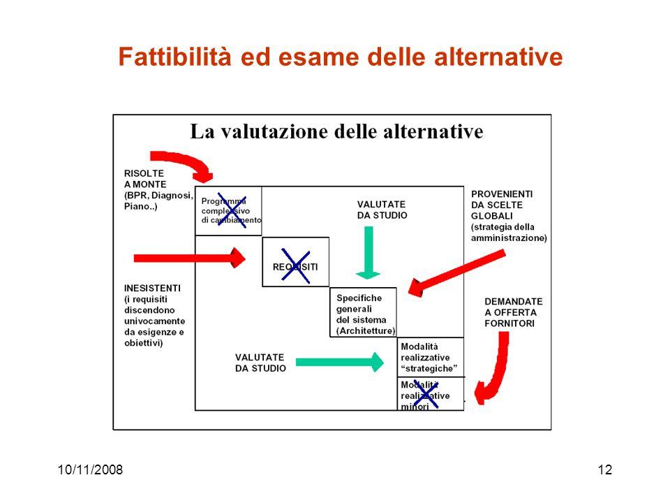 10/11/200812 Fattibilità ed esame delle alternative
