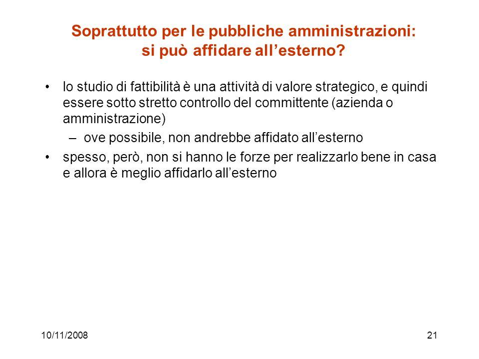 10/11/200821 Soprattutto per le pubbliche amministrazioni: si può affidare all'esterno.