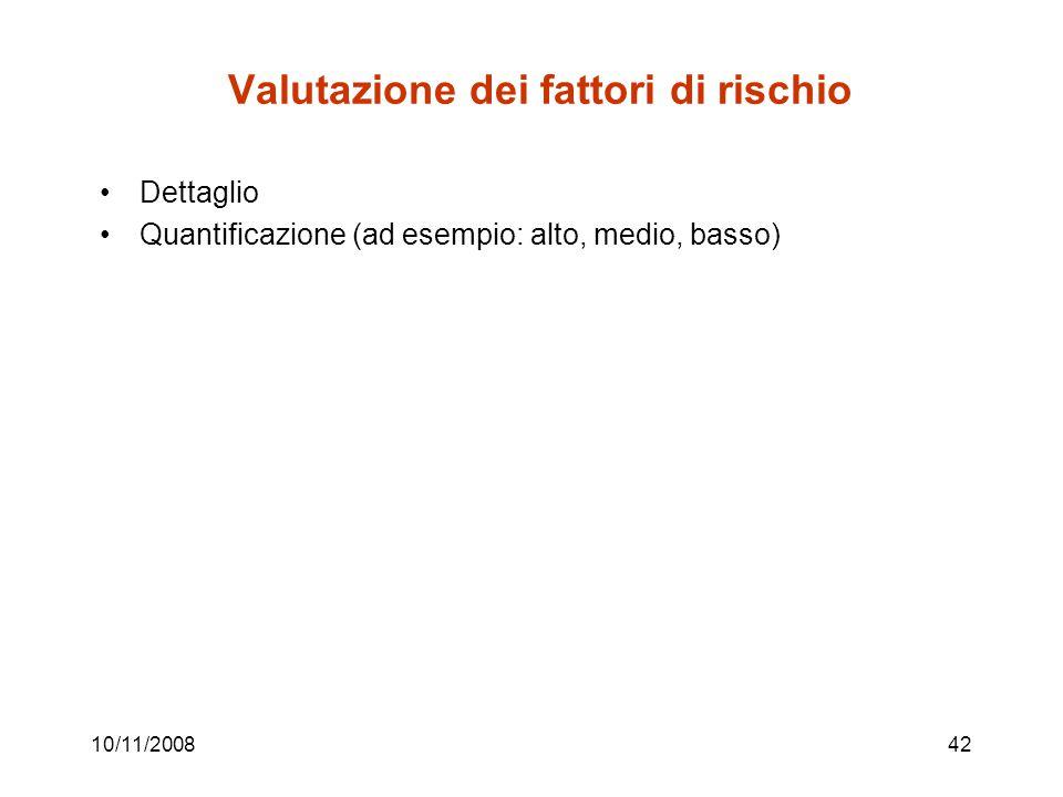 10/11/200842 Valutazione dei fattori di rischio Dettaglio Quantificazione (ad esempio: alto, medio, basso)