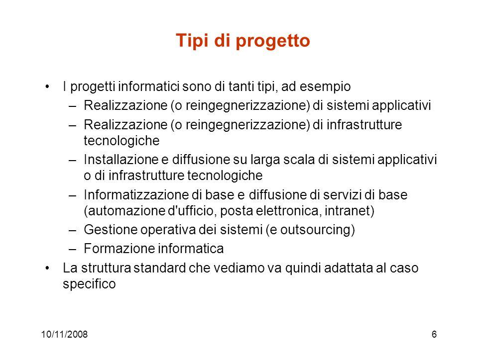 10/11/200817 Tipici input allo studio di fattibilità 1.Piano: progetti e budget 2.BPR: processi da modificare 3.Assessment (processo mediante il quale un organizzazione valuta l efficacia e l efficienza del proprio sistema informativo e individua le cause di disfunzioni)