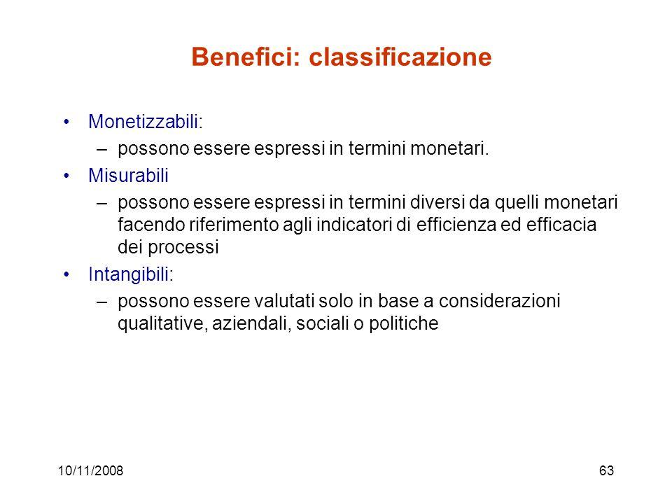10/11/200863 Benefici: classificazione Monetizzabili: –possono essere espressi in termini monetari.