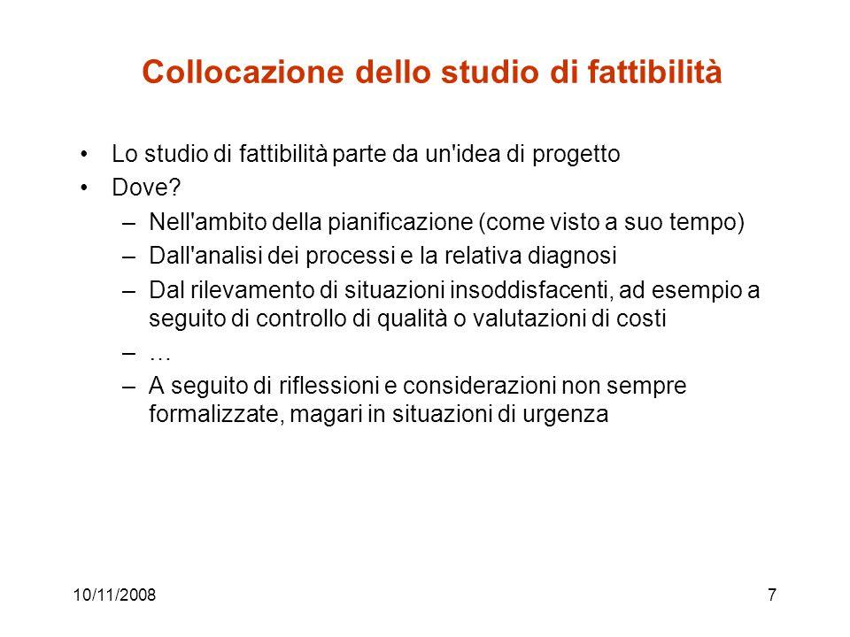 10/11/20087 Collocazione dello studio di fattibilità Lo studio di fattibilità parte da un idea di progetto Dove.