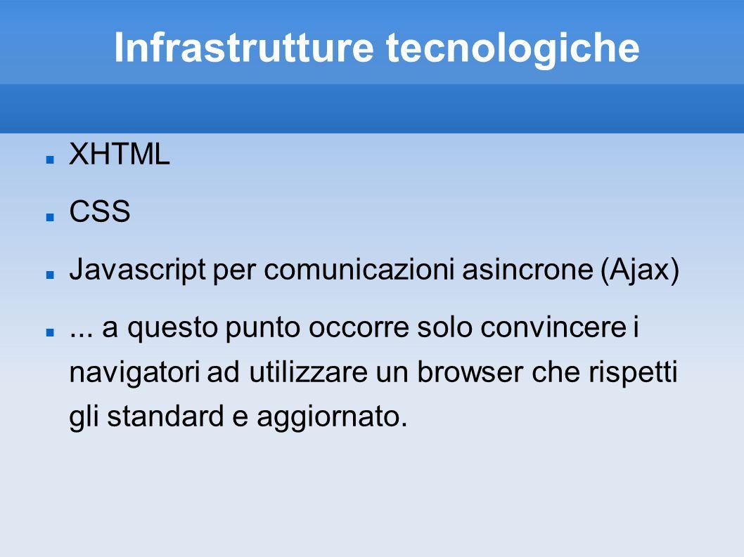 Infrastrutture tecnologiche XHTML CSS Javascript per comunicazioni asincrone (Ajax)... a questo punto occorre solo convincere i navigatori ad utilizz