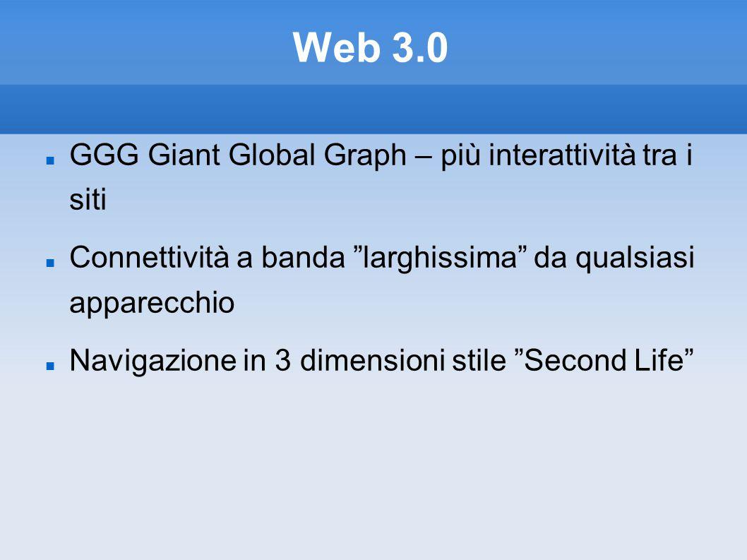 Web 3.0 GGG Giant Global Graph – più interattività tra i siti Connettività a banda larghissima da qualsiasi apparecchio Navigazione in 3 dimensioni stile Second Life