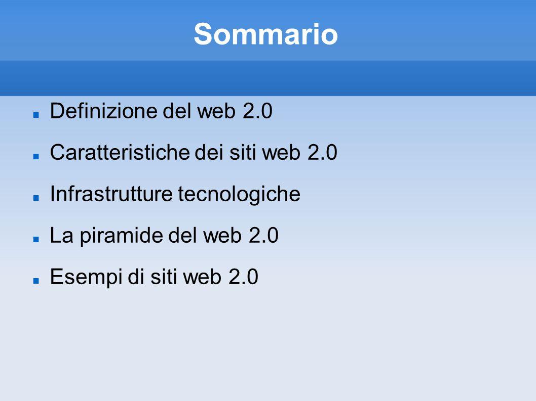 Sommario Definizione del web 2.0 Caratteristiche dei siti web 2.0 Infrastrutture tecnologiche La piramide del web 2.0 Esempi di siti web 2.0