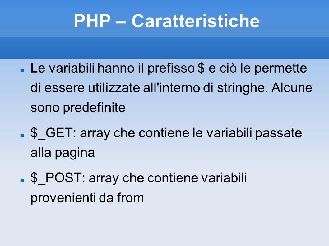 PHP – Caratteristiche Le variabili hanno il prefisso $ e ciò le permette di essere utilizzate all'interno di stringhe. Alcune sono predefinite $_GET: