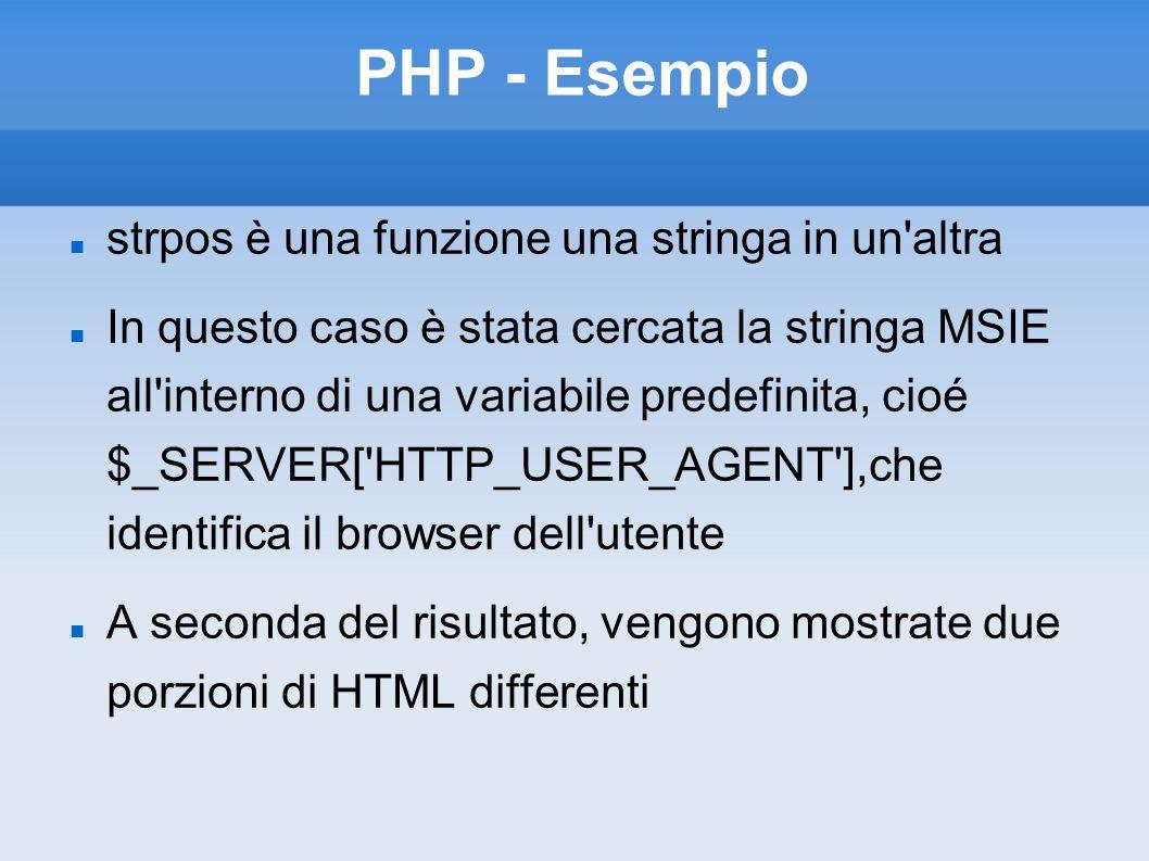 PHP - Esempio strpos è una funzione una stringa in un'altra In questo caso è stata cercata la stringa MSIE all'interno di una variabile predefinita, c
