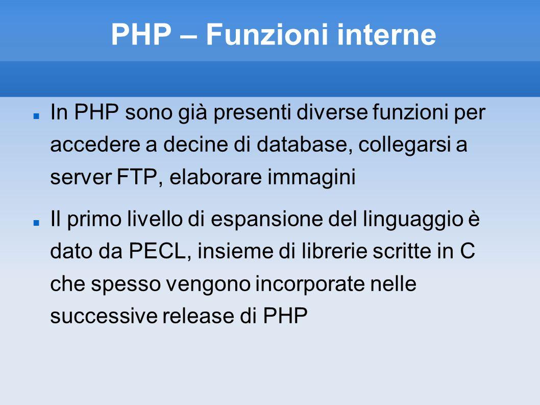 PHP – Funzioni interne In PHP sono già presenti diverse funzioni per accedere a decine di database, collegarsi a server FTP, elaborare immagini Il primo livello di espansione del linguaggio è dato da PECL, insieme di librerie scritte in C che spesso vengono incorporate nelle successive release di PHP