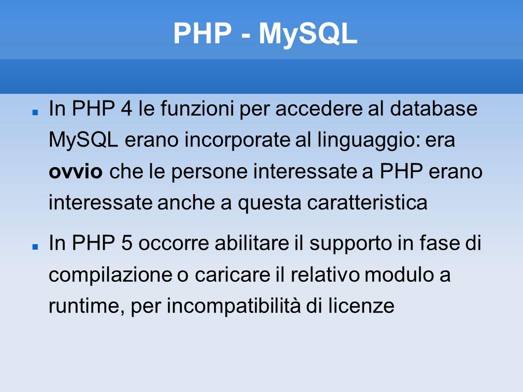 PHP - MySQL In PHP 4 le funzioni per accedere al database MySQL erano incorporate al linguaggio: era ovvio che le persone interessate a PHP erano inte