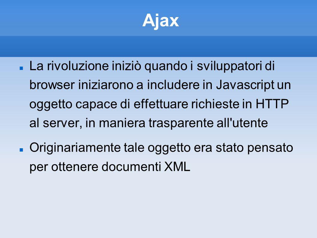 Ajax La rivoluzione iniziò quando i sviluppatori di browser iniziarono a includere in Javascript un oggetto capace di effettuare richieste in HTTP al server, in maniera trasparente all utente Originariamente tale oggetto era stato pensato per ottenere documenti XML