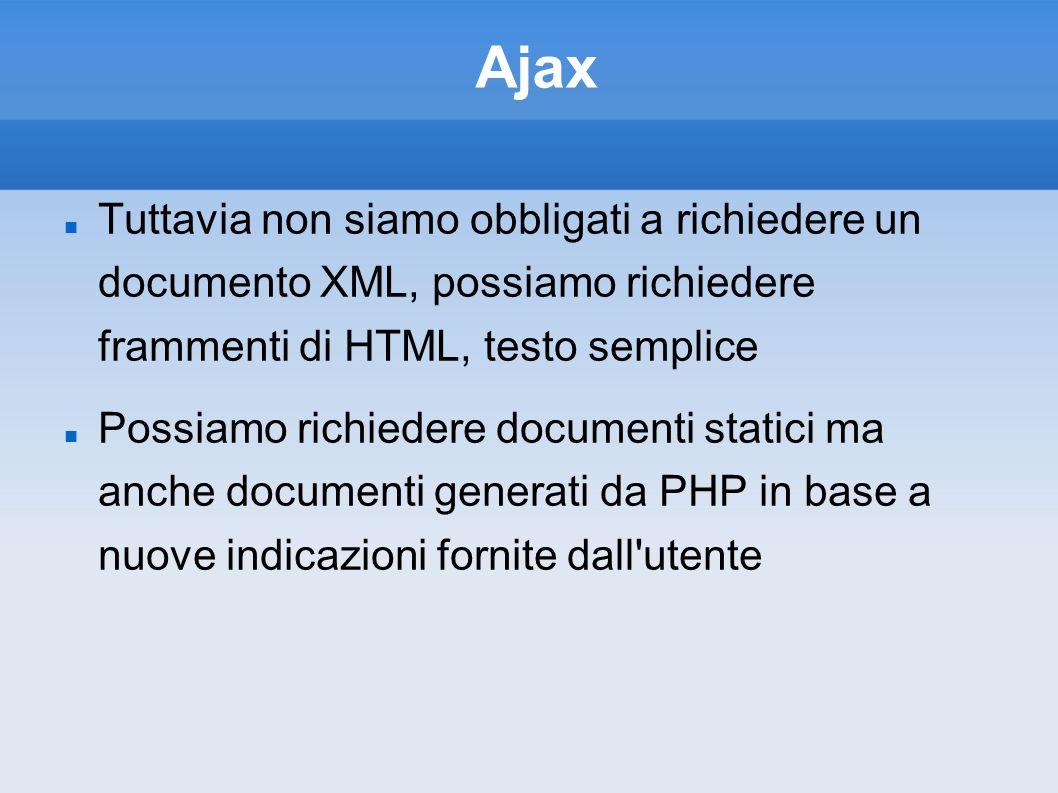 Ajax Tuttavia non siamo obbligati a richiedere un documento XML, possiamo richiedere frammenti di HTML, testo semplice Possiamo richiedere documenti statici ma anche documenti generati da PHP in base a nuove indicazioni fornite dall utente