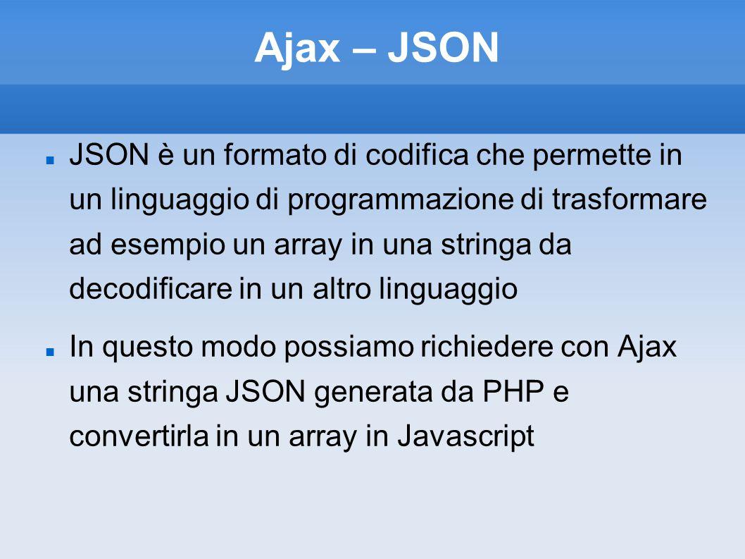 Ajax – JSON JSON è un formato di codifica che permette in un linguaggio di programmazione di trasformare ad esempio un array in una stringa da decodif