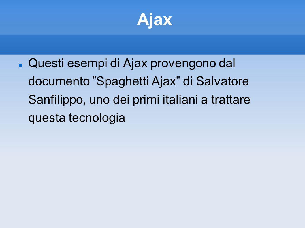 Ajax Questi esempi di Ajax provengono dal documento Spaghetti Ajax di Salvatore Sanfilippo, uno dei primi italiani a trattare questa tecnologia