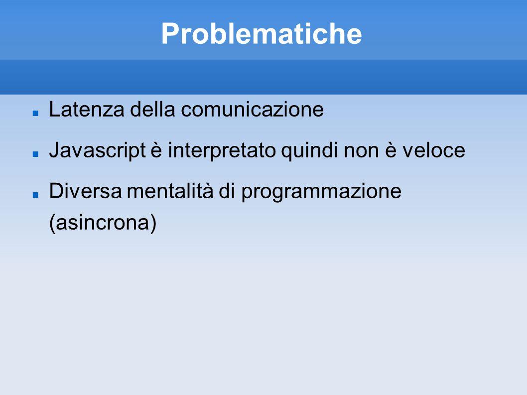 Problematiche Latenza della comunicazione Javascript è interpretato quindi non è veloce Diversa mentalità di programmazione (asincrona)