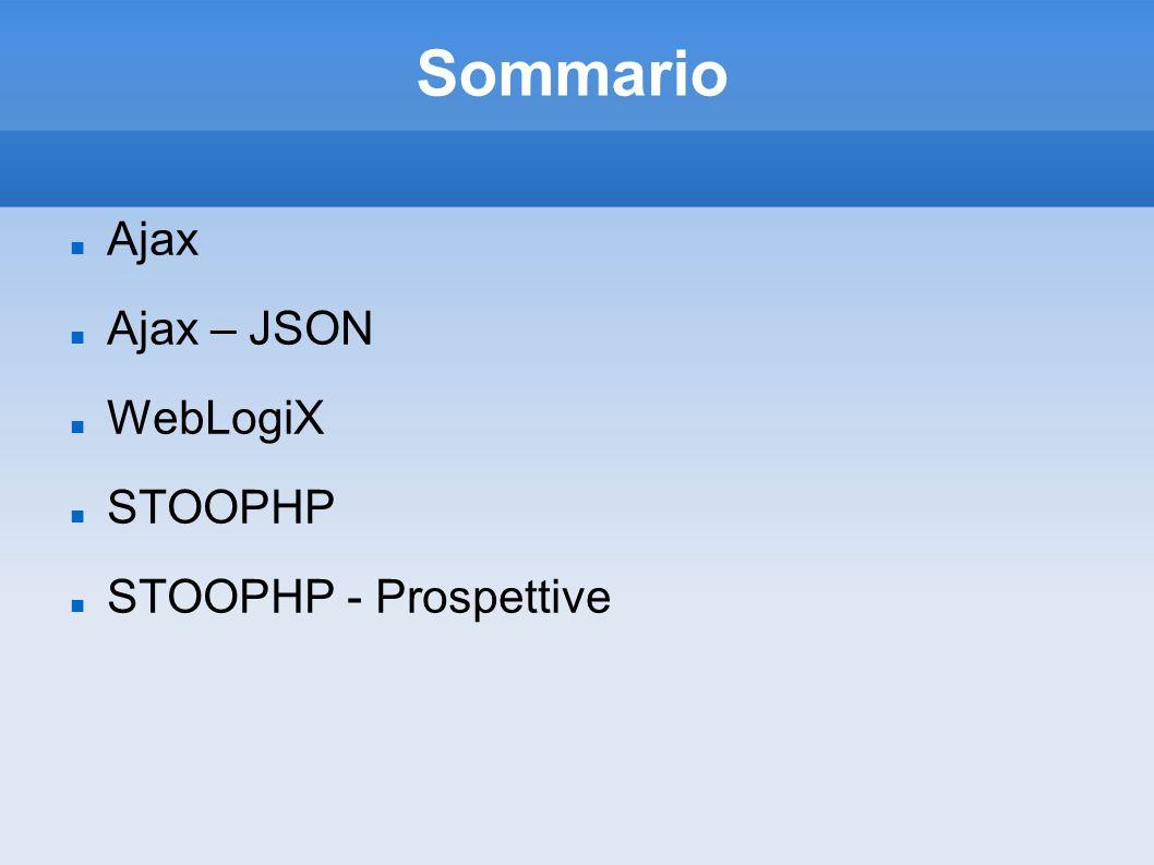 Sommario Ajax Ajax – JSON WebLogiX STOOPHP STOOPHP - Prospettive