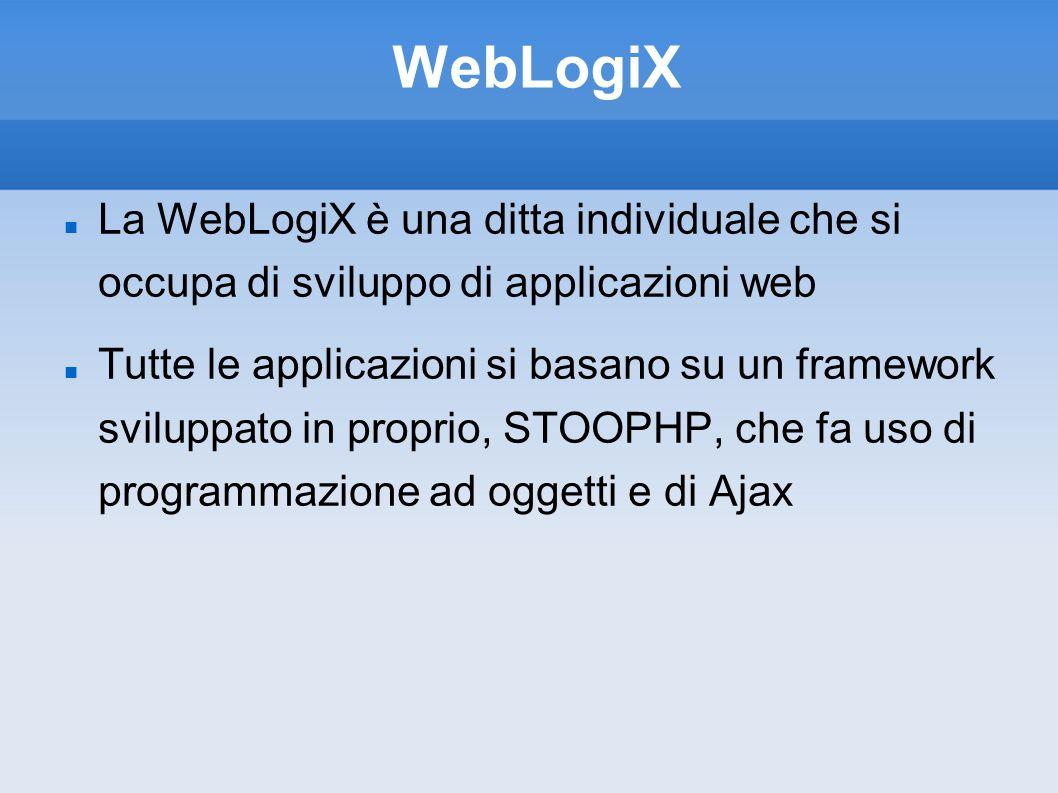 WebLogiX La WebLogiX è una ditta individuale che si occupa di sviluppo di applicazioni web Tutte le applicazioni si basano su un framework sviluppato