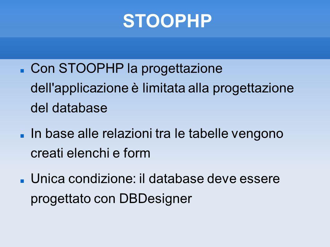 STOOPHP Con STOOPHP la progettazione dell applicazione è limitata alla progettazione del database In base alle relazioni tra le tabelle vengono creati elenchi e form Unica condizione: il database deve essere progettato con DBDesigner