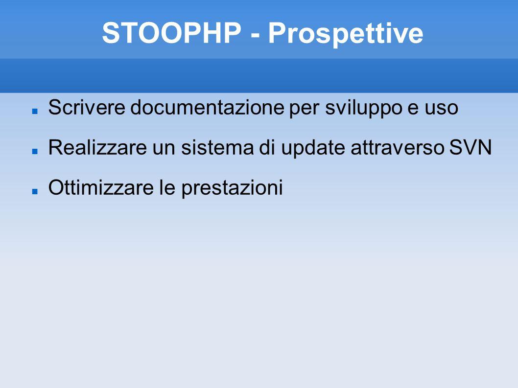 STOOPHP - Prospettive Scrivere documentazione per sviluppo e uso Realizzare un sistema di update attraverso SVN Ottimizzare le prestazioni