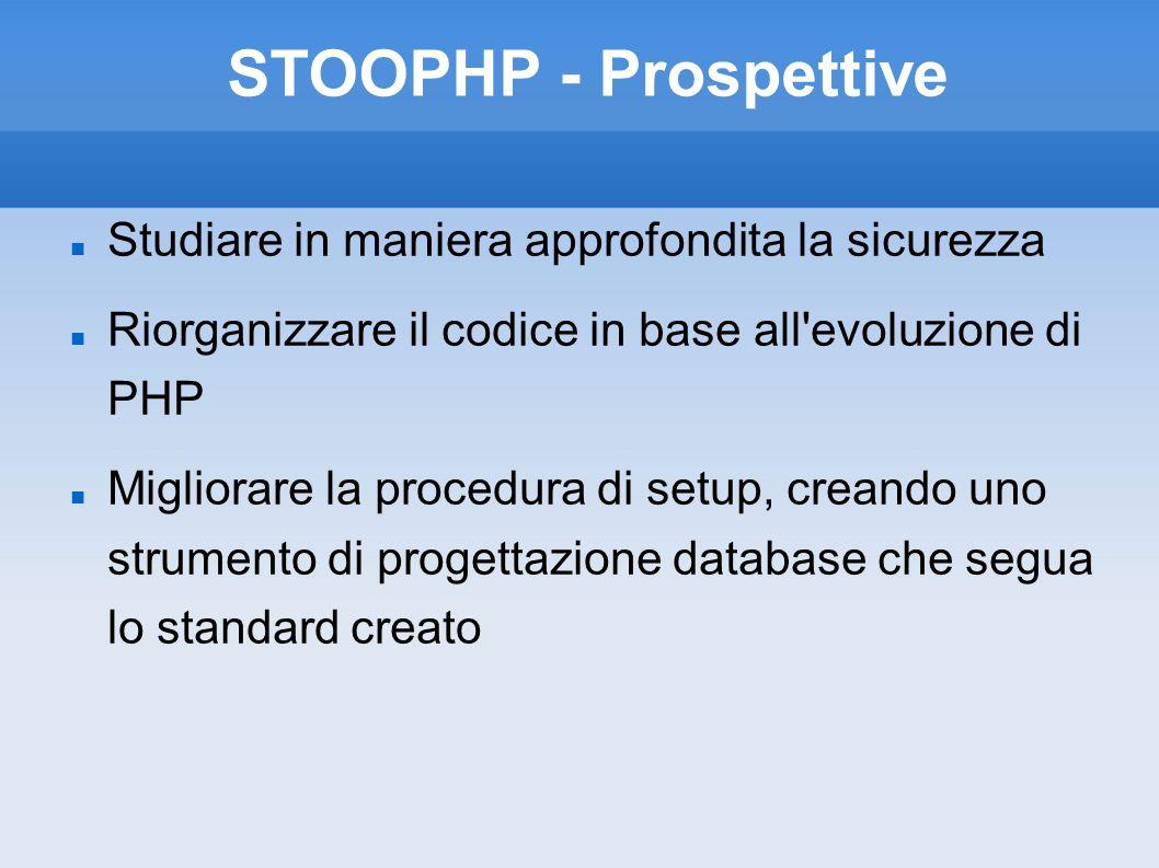STOOPHP - Prospettive Studiare in maniera approfondita la sicurezza Riorganizzare il codice in base all'evoluzione di PHP Migliorare la procedura di s