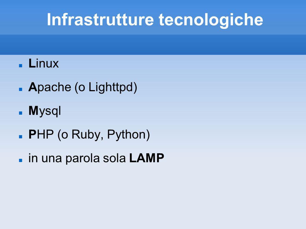 Infrastrutture tecnologiche Linux Apache (o Lighttpd) Mysql PHP (o Ruby, Python) in una parola sola LAMP