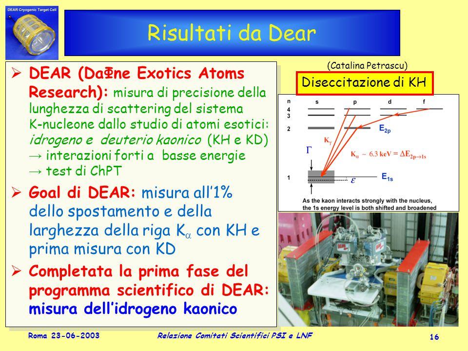 Roma 23-06-2003 Relazione Comitati Scientifici PSI e LNF 16 Risultati da Dear  DEAR (DaΦne Exotics Atoms Research): misura di precisione della lunghezza di scattering del sistema K-nucleone dallo studio di atomi esotici: idrogeno e deuterio kaonico (KH e KD) → interazioni forti a basse energie → test di ChPT  Goal di DEAR: misura all'1% dello spostamento e della larghezza della riga K  con KH e prima misura con KD  Completata la prima fase del programma scientifico di DEAR: misura dell'idrogeno kaonico  DEAR (DaΦne Exotics Atoms Research): misura di precisione della lunghezza di scattering del sistema K-nucleone dallo studio di atomi esotici: idrogeno e deuterio kaonico (KH e KD) → interazioni forti a basse energie → test di ChPT  Goal di DEAR: misura all'1% dello spostamento e della larghezza della riga K  con KH e prima misura con KD  Completata la prima fase del programma scientifico di DEAR: misura dell'idrogeno kaonico Diseccitazione di KH (Catalina Petrascu)