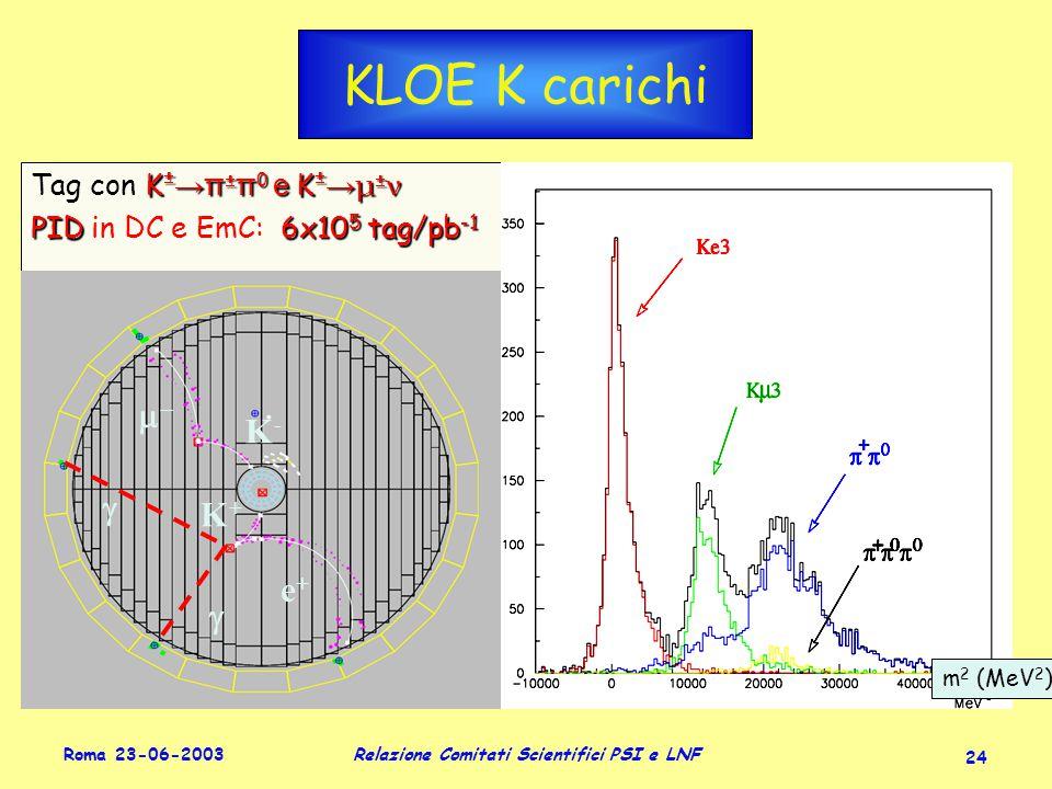 Roma 23-06-2003 Relazione Comitati Scientifici PSI e LNF 24 KLOE K carichi K  →π  π 0 e K  → μ  ν Tag con K  →π  π 0 e K  → μ  ν PID6x10 5 tag/pb -1 PID in DC e EmC: 6x10 5 tag/pb -1 K  →π  π 0 e K  → μ  ν Tag con K  →π  π 0 e K  → μ  ν PID6x10 5 tag/pb -1 PID in DC e EmC: 6x10 5 tag/pb -1 m 2 (MeV 2 ) K-K-  K+K+ e+e+  