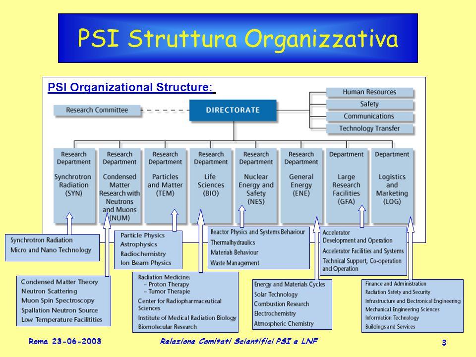 Roma 23-06-2003 Relazione Comitati Scientifici PSI e LNF 3 PSI Struttura Organizzativa PSI Organizational Structure:
