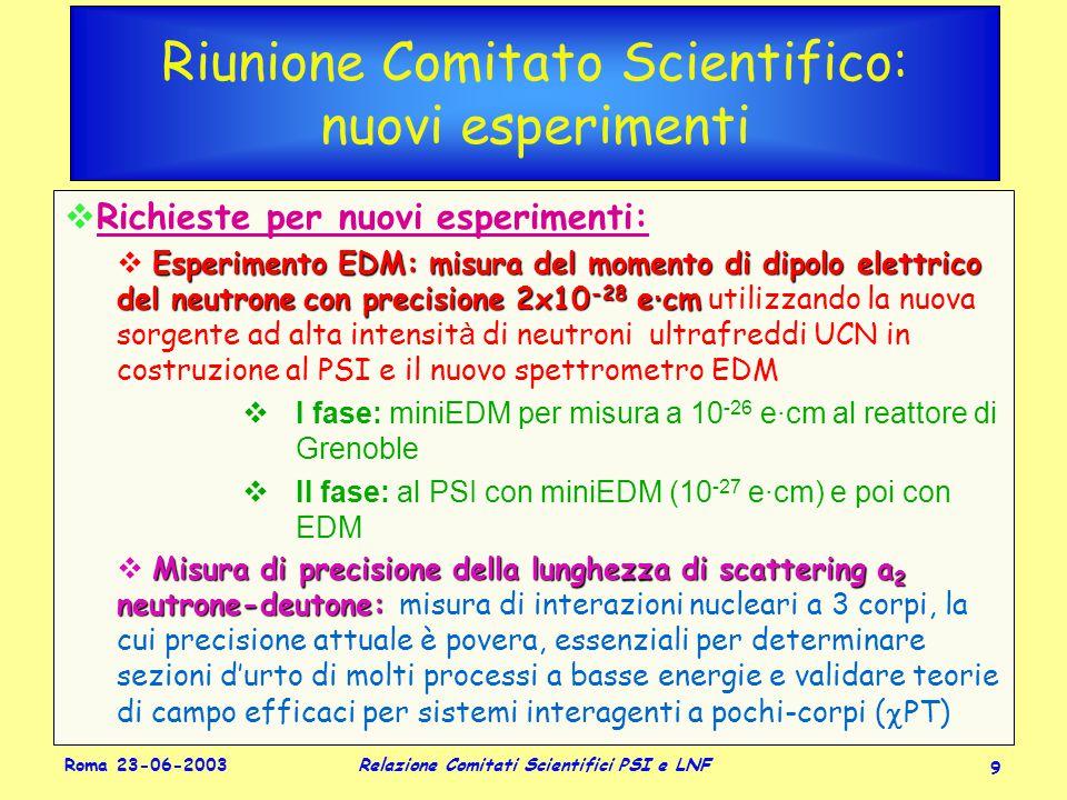Roma 23-06-2003 Relazione Comitati Scientifici PSI e LNF 20 KSKS ee           KLKL   ll LL  mSmS K±K± +,0   ll +,0  ±± e±e± V us CP Rare KLOE: Fisica dei K (Claudio Gatti)