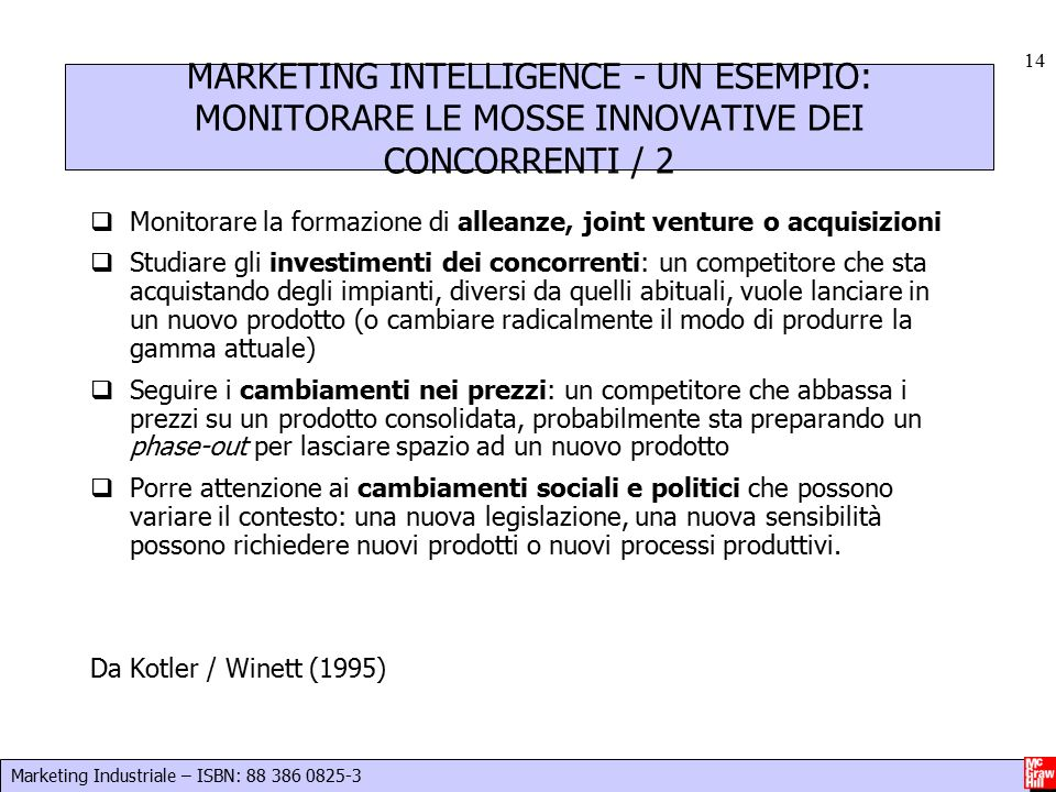 Marketing Industriale – ISBN: 88 386 0825-3 14 MARKETING INTELLIGENCE - UN ESEMPIO: MONITORARE LE MOSSE INNOVATIVE DEI CONCORRENTI / 2  Monitorare la