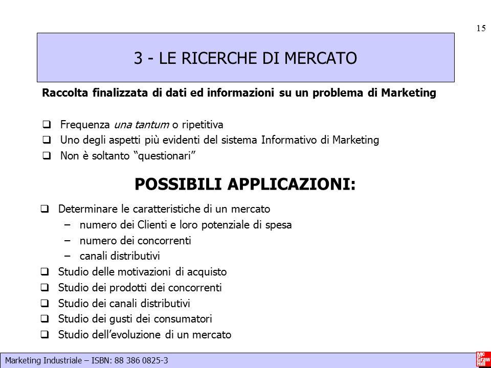 Marketing Industriale – ISBN: 88 386 0825-3 15 3 - LE RICERCHE DI MERCATO Raccolta finalizzata di dati ed informazioni su un problema di Marketing  F