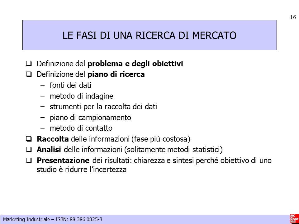 Marketing Industriale – ISBN: 88 386 0825-3 16 LE FASI DI UNA RICERCA DI MERCATO  Definizione del problema e degli obiettivi  Definizione del piano