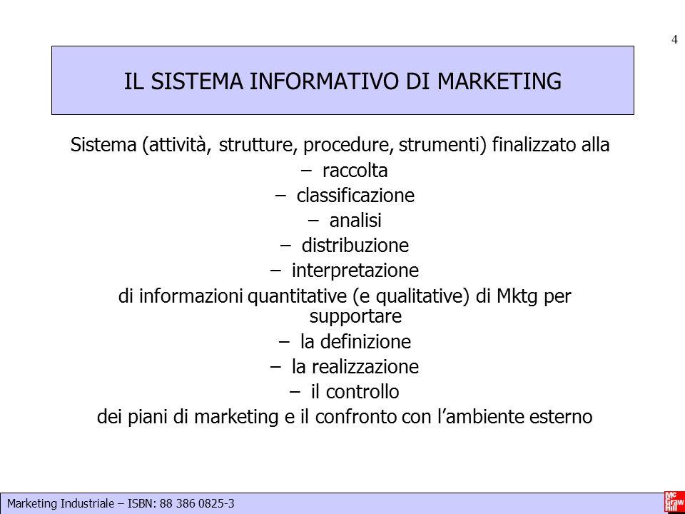 Marketing Industriale – ISBN: 88 386 0825-3 4 IL SISTEMA INFORMATIVO DI MARKETING Sistema (attività, strutture, procedure, strumenti) finalizzato alla