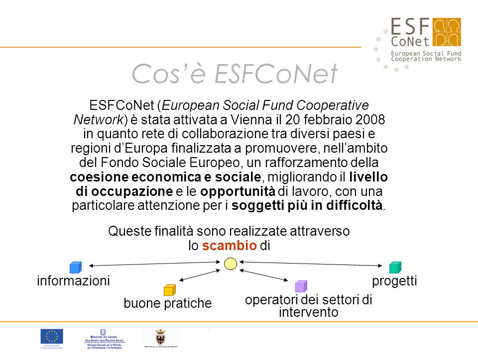 Cos'è ESFCoNet ESFCoNet (European Social Fund Cooperative Network) è stata attivata a Vienna il 20 febbraio 2008 in quanto rete di collaborazione tra diversi paesi e regioni d'Europa finalizzata a promuovere, nell'ambito del Fondo Sociale Europeo, un rafforzamento della coesione economica e sociale, migliorando il livello di occupazione e le opportunità di lavoro, con una particolare attenzione per i soggetti più in difficoltà.