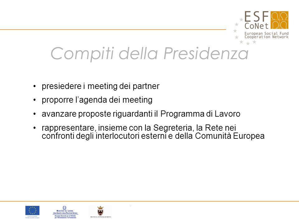 Compiti della Presidenza presiedere i meeting dei partner proporre l'agenda dei meeting avanzare proposte riguardanti il Programma di Lavoro rappresentare, insieme con la Segreteria, la Rete nei confronti degli interlocutori esterni e della Comunità Europea