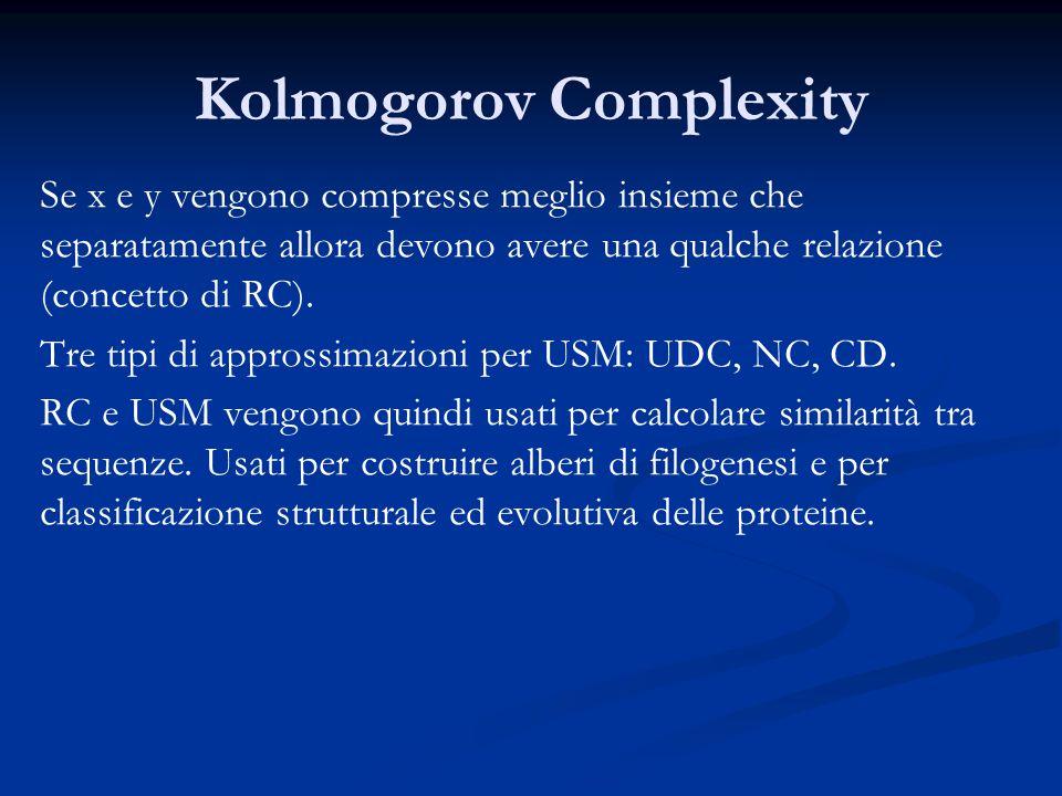 Kolmogorov Complexity Se x e y vengono compresse meglio insieme che separatamente allora devono avere una qualche relazione (concetto di RC).