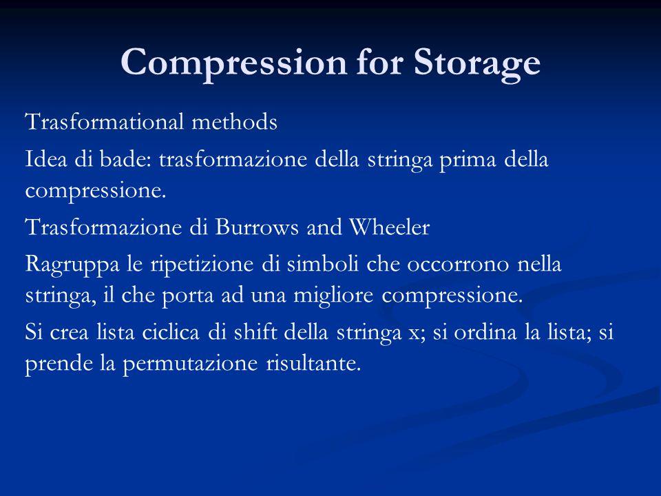Compression for Storage Trasformational methods Idea di bade: trasformazione della stringa prima della compressione.