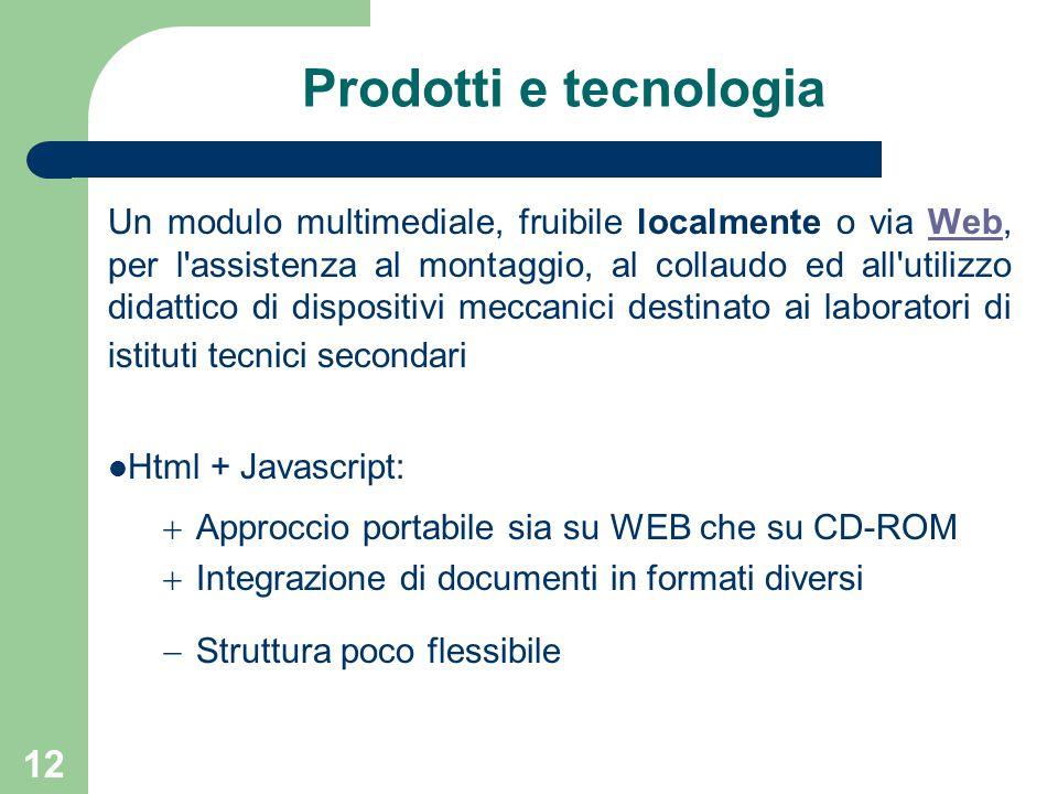 12 Prodotti e tecnologia Un modulo multimediale, fruibile localmente o via Web, per l'assistenza al montaggio, al collaudo ed all'utilizzo didattico d