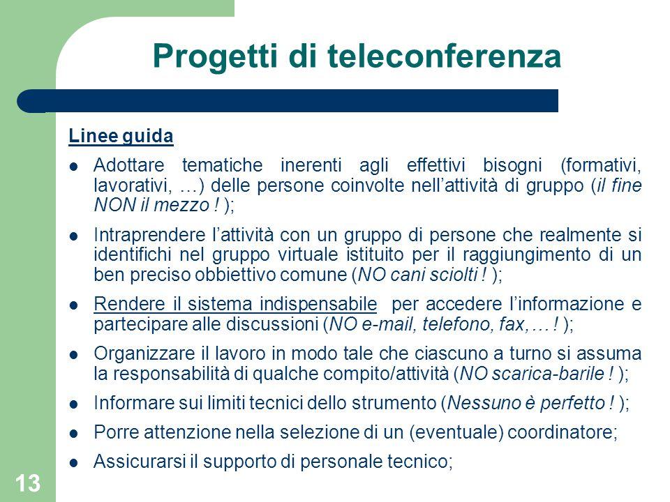 13 Progetti di teleconferenza Linee guida Adottare tematiche inerenti agli effettivi bisogni (formativi, lavorativi, …) delle persone coinvolte nell'attività di gruppo (il fine NON il mezzo .