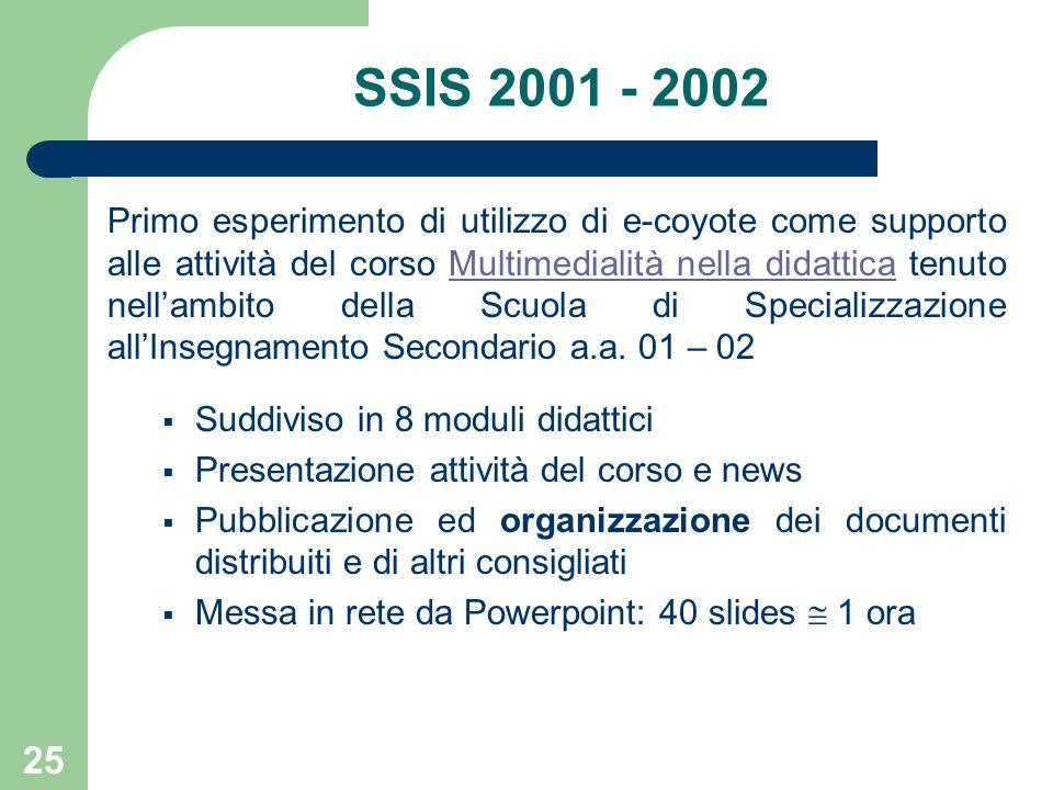 25 SSIS 2001 - 2002 Primo esperimento di utilizzo di e-coyote come supporto alle attività del corso Multimedialità nella didattica tenuto nell'ambito della Scuola di Specializzazione all'Insegnamento Secondario a.a.