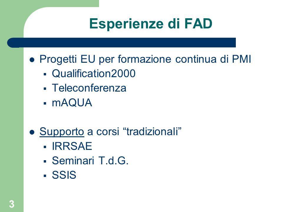 3 Esperienze di FAD Progetti EU per formazione continua di PMI  Qualification2000  Teleconferenza  mAQUA Supporto a corsi tradizionali  IRRSAE  Seminari T.d.G.
