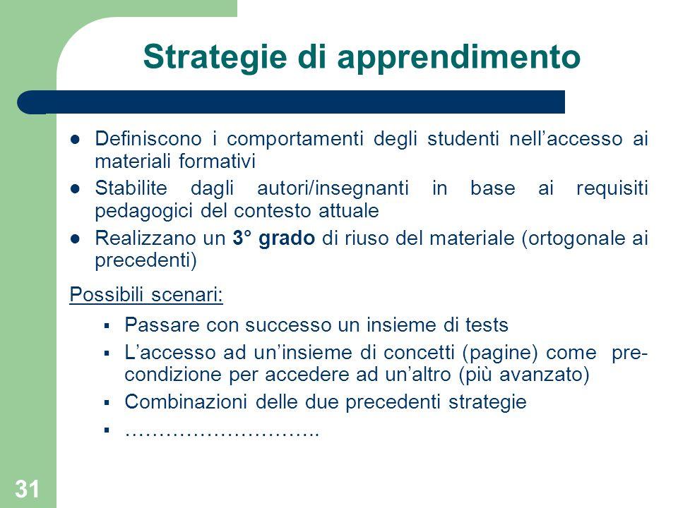 31 Strategie di apprendimento Definiscono i comportamenti degli studenti nell'accesso ai materiali formativi Stabilite dagli autori/insegnanti in base