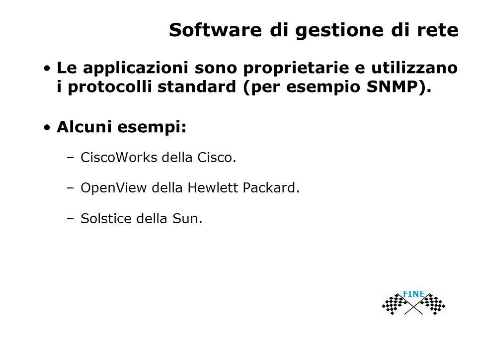 Software di gestione di rete FINE Le applicazioni sono proprietarie e utilizzano i protocolli standard (per esempio SNMP).
