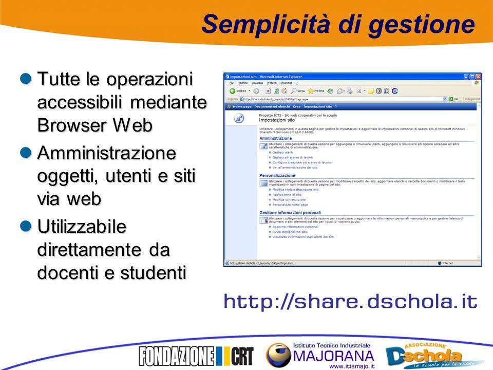 Semplicità di gestione Tutte le operazioni accessibili mediante Browser Web Tutte le operazioni accessibili mediante Browser Web Amministrazione oggetti, utenti e siti via web Amministrazione oggetti, utenti e siti via web Utilizzabile direttamente da docenti e studenti Utilizzabile direttamente da docenti e studenti