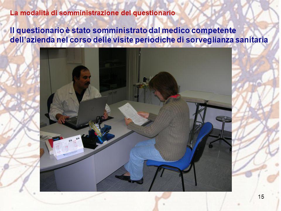 15 La modalità di somministrazione del questionario Il questionario è stato somministrato dal medico competente dell'azienda nel corso delle visite pe